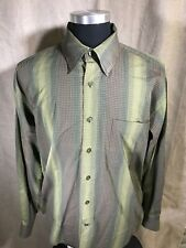 North Forty Four 44 L Large Shirt Green, Orange Check Pattern Long Sleeve Mens