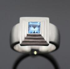 RING MIT 1 BLAUTOPAS AUS MASSIV 950/- PLATIN WERT EUR 2950,-