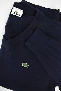 LACOSTE Men's 3 or ~SMALL 100% Wool V-Neck Pullover Sweater 33384_GS