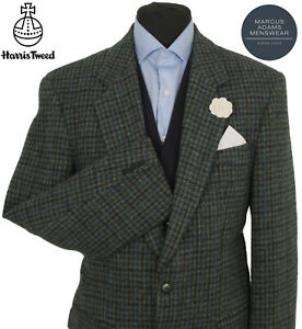 Harris Tweed Jacket Blazer 40R Dogtooth Windowpane Country Check Weave Hacking