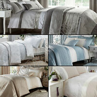 CATHERINE LANSFIELD LUXURY QUILT DUVET COVER BEDDING SET CREAM SILVER GREY BLUE