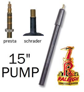 """Raleigh 15"""" Bicycle Dual Valve Pump For Presta Valve & Schrader Valve In Black"""