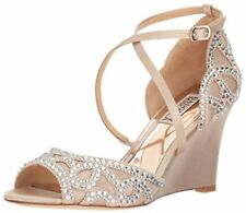 0a7972431e5c Badgley Mischka Winter Wedge Sandal HEELS Bridal Nude Satin Size 6 M Wedding