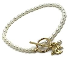 Fine freshwater Pearl Bracelet With Bird Charm New, gold Overlay Sterling Silver