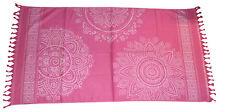 TELO mare pareo cotone con frange asciugamano copri lettino 100x170 rosly rosa