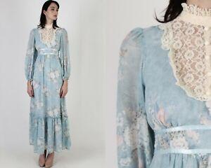 Vtg 70s Prairie Floral Dress Candi Jones Sheer Lace Country Lawn Festival Maxi