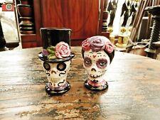 SUGARSKULL CRUET SET. Salt & Pepper Pots. Mexican Day of the Dead. Ceramic