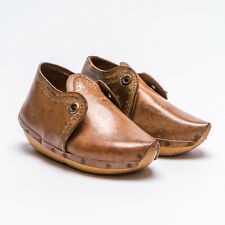 Vintage Handmade Peasant Childs Leather Wood Sole Shoes Decoration Dalmine Italy