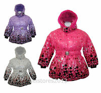 Girls Jacket Coat Padded Winter Fur Hooded Age 2-3 years New Belted School New