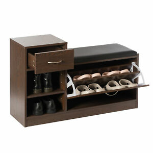 New Basicwise Wooden Entryway Shoe Storage Bench with Cushion