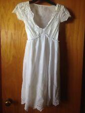 $260 BCBG Max Azria Dress Sz S White Cotton Eyelet Tea Length Peasant Boho Lined