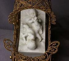 "German Miniature Bisque 3"" Baby Doll House Figurines Brass Stroller Limbach"