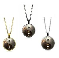 Steampunk Ying Yang Tibet Silver Cabochon Glass Pendant Chain Necklace 3 Colors