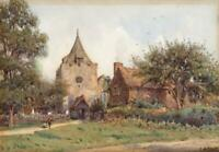ERNEST ARTHUR ROWE (1863-1922) Antique Watercolour Painting OTFORD CHURCH KENT