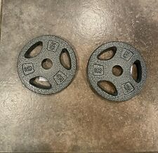 Standard Grip Barbell Dumbbell Weight Plates 5 lb X 2 (PAIR) 10 LBS TOTAL
