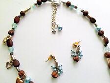 BRIGHTON  Zen Garden Wood Bead Blue  Necklace and Earrings set RETIRED