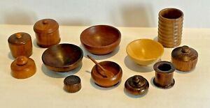 12 Items of 1:12 Scale Artisan Made Miniature Treen, Bowls, Pots and Containers