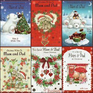 'MUM & DAD' CHRISTMAS GREETING CARD - QUALITY -  MULTIPLE DESIGN'S - FREE P&P