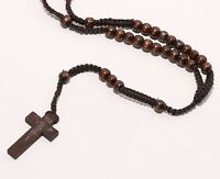 WOOD BROWN CATHOLIC Rosary Prayer Brown CORD Rope ROSARY