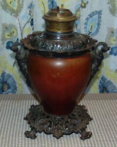 Antique BRADLEY & HUBBARD Oil Lamp CAST IRON BASE