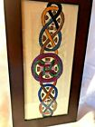 Vintage hand stitched celtic knot tapestry from Ireland- Framed