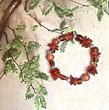 Baltic Amber & Sterling Silver Beaded Stretch Bracelet