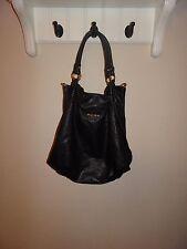 miu miu black leather perforated breathable double strap hobo large handbag
