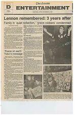 John Lennon Remembered 3 Year Anniv John and Yoko Beatles July 21 1983  C1
