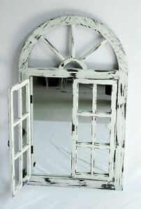French Provincial Rustic Wooden Arch Wall Window Mirror Indoor Outdoor