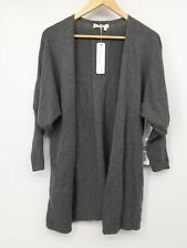 NWT Indigenous Designs Women's Sweater Charcoal Grey Cardigan Rib Puff Sleeve Sm