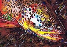 Fly Fishing Painting Brown Trout Art Print,Fisherman Gift, Artist Signed  A4 A3