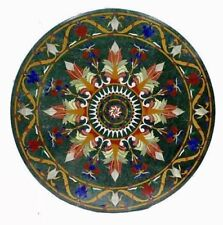 "42"" Green Marble Table Top Pietra Dura Marquetry Multi Stones Inlay Work"