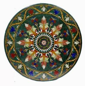 """36"""" Green Marble Table Top Pietra Dura Marquetry Multi Stone Home Furniture"""