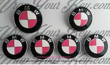 WHITE & HOT PINK BMW Badge Emblem Overlay Wrap HOOD TRUNK RIMS @!FITS ALL BMW!@