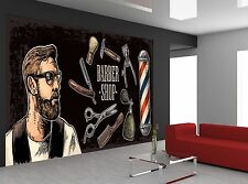 Vintage Barbershop  Wall Mural Photo Wallpaper GIANT WALL DECOR Paper Poster