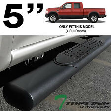 "5"" MATTE BLK SIDE STEP NERF BARS RUNNING BOARD 1999-2016 FORD F250 F350 CREW CAB"