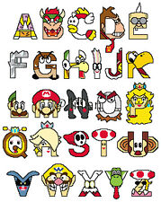 Super Mario Alphabetical Abc To Z Cross Stitch Pattern auc