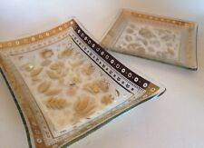 Vintage Cool Georges Briard Glass Trays. 2 Gold On Clear Mid Cent Mod. Signed.