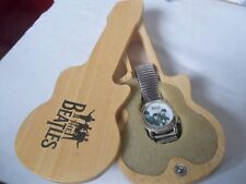 THE BEATLES APPLE TIMEPIECE WATCH & BEAUTIFUL WOODEN GUITAR SHAPED CASE FAB!