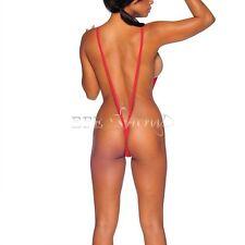Women Red One-Piece Leotard Top Bodysuit Swimsuit Thong Monokini Bikini G-String