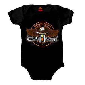 Biker Baby Body-Suit Creeper - Cry Hard Poop Free - Motorcycle Biker Boy Infant
