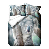 Novelty Gift Cute Koala Adult Kids Bedding Duvet Quilt Cover Set Single Queen