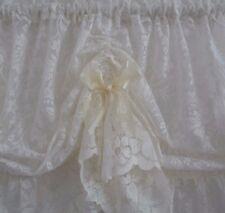 2m wide x 46cm drop Austrian Valance Ivory Curtain Lace Satin Edged Organza Bows