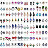 Lots Fashion Women Crystal Rhinestone Ear Clip Drop Dangle Stud Earrings Jewelry