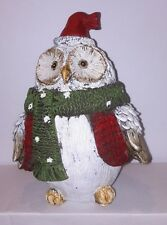 Christmas Owl  Xmas Decoration With Red and Green Scarf. Gift Ornament