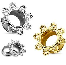 PAIR - TRIBAL HEARTS FILIGREE EAR TUNNELS PLUGS SCREW FIT GAUGES (9 sizes)