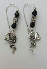Real Dragonglass gems Dragon Earrings. On kidney hooks.Game of Thrones inspired
