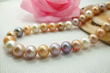 "AAAAA 17""9-10mm REAL South sea white pink purple Multicolor pearl necklace 14K"