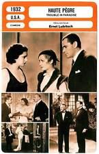FICHE CINEMA : HAUTE PEGRE - Hopkins,Francis,Lubitsch 1932 Trouble in Paradise