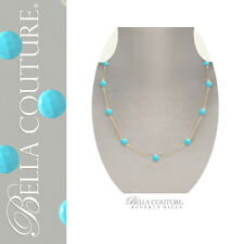 BC®NEW $599 VICTORIAN ANTIQUE 18K GOLD TURQUOISE VTG DIAMOND CUT CHAIN NECKLACE